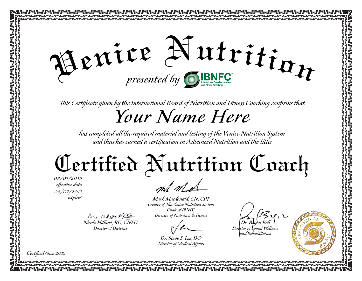 Recertifications Venice Nutrition