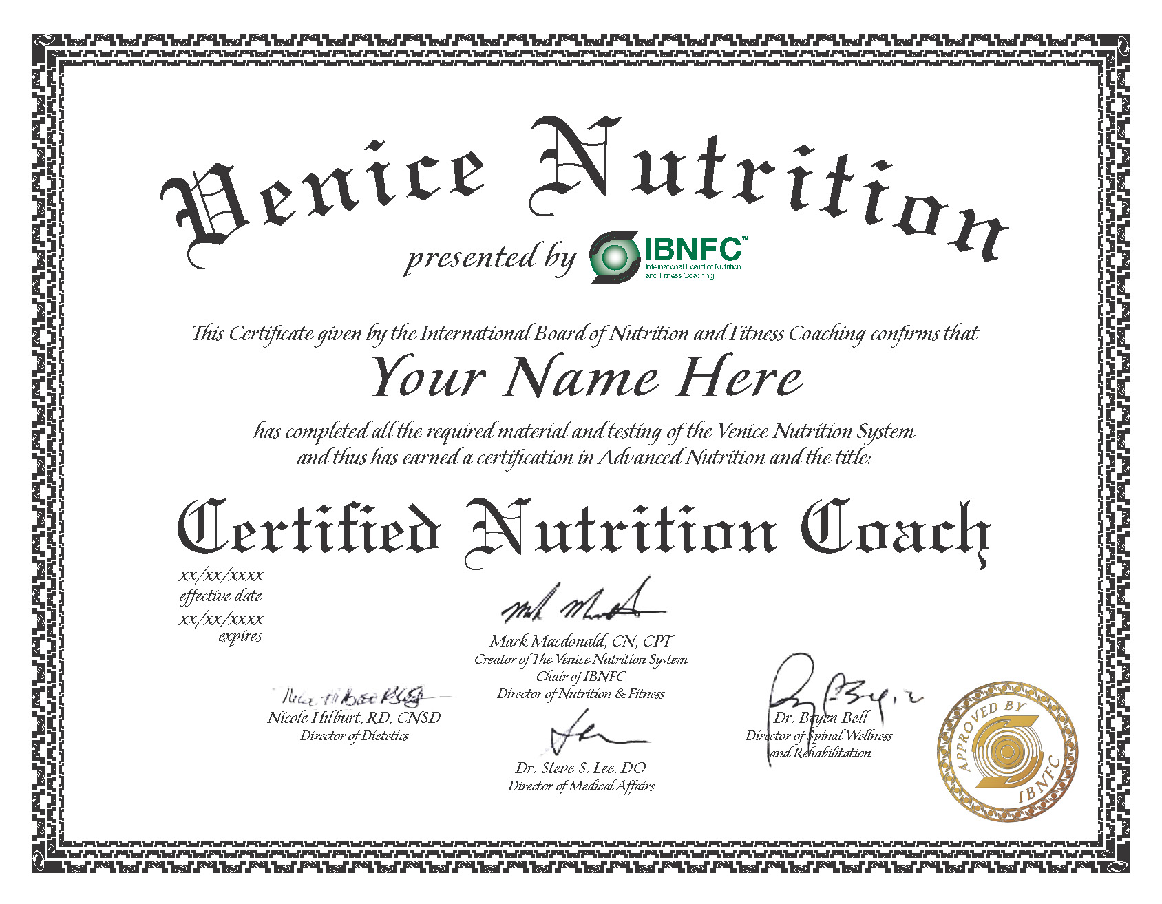 Venice Nutrition - Sample Certification