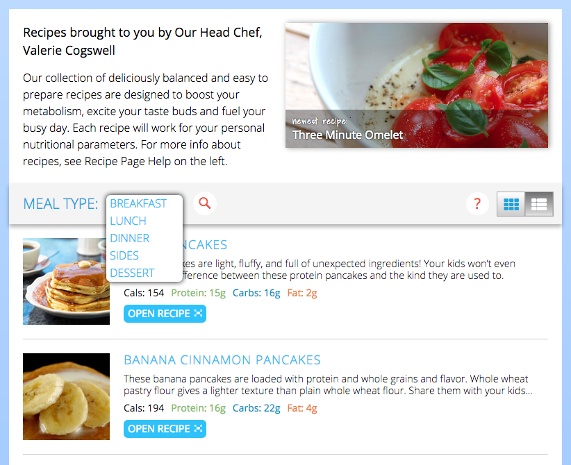 customized meal planning system
