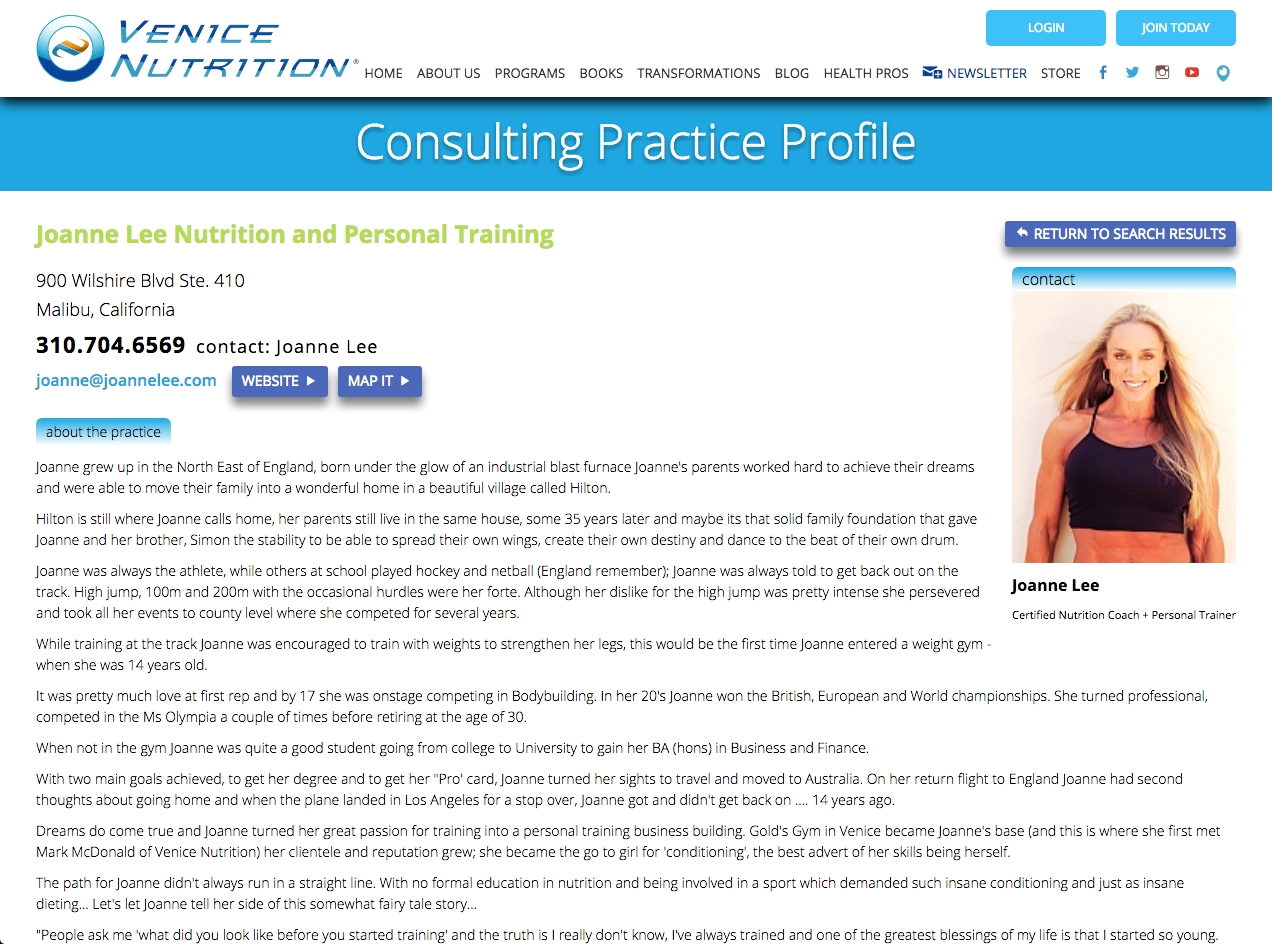 Consulting Practice Profile Screenshot