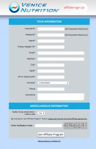 Affilate Program Screenshot
