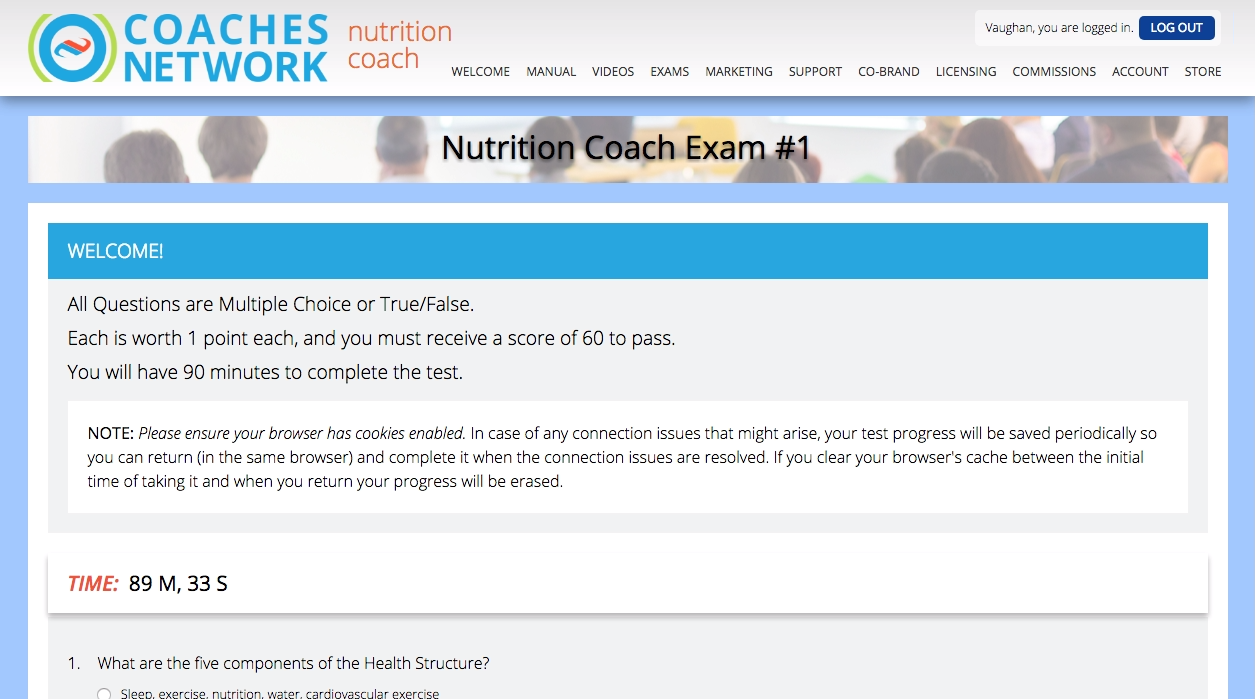 Nutrition Coach Exam Screenshot
